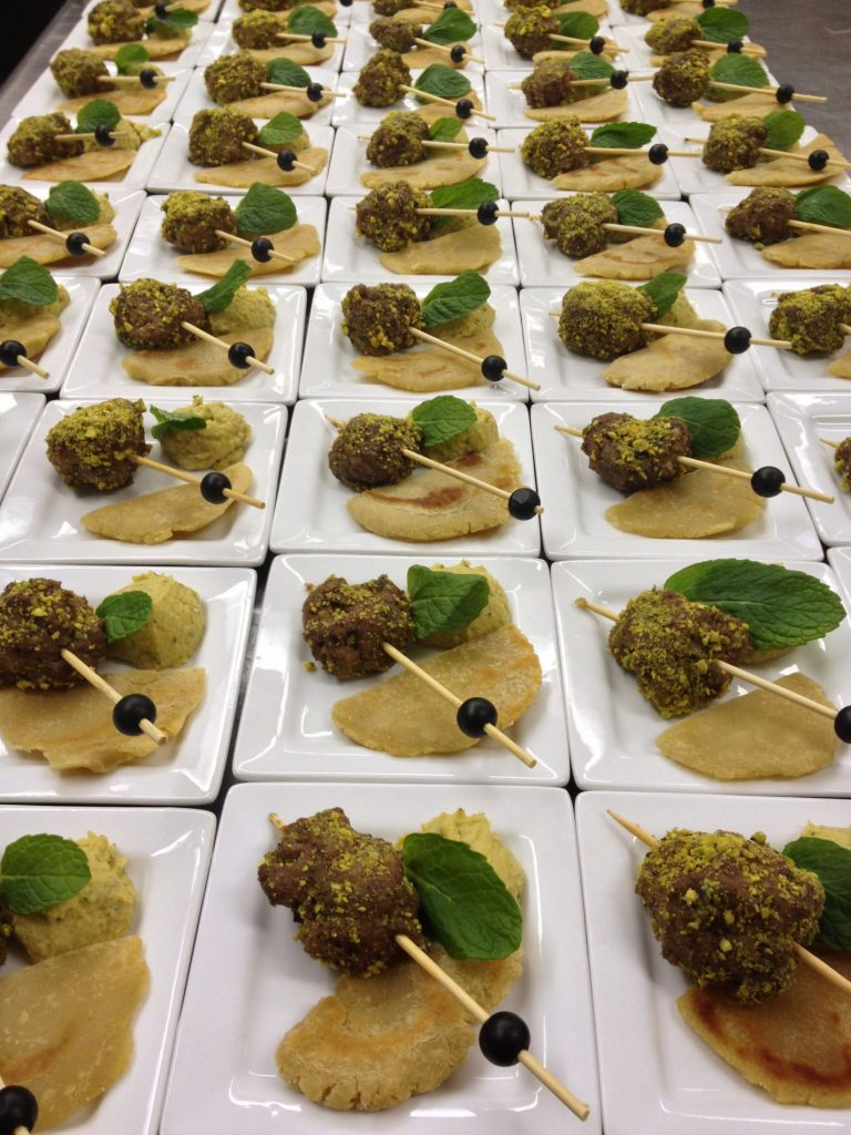 Lamb pistachio kebob with fresh made hummus