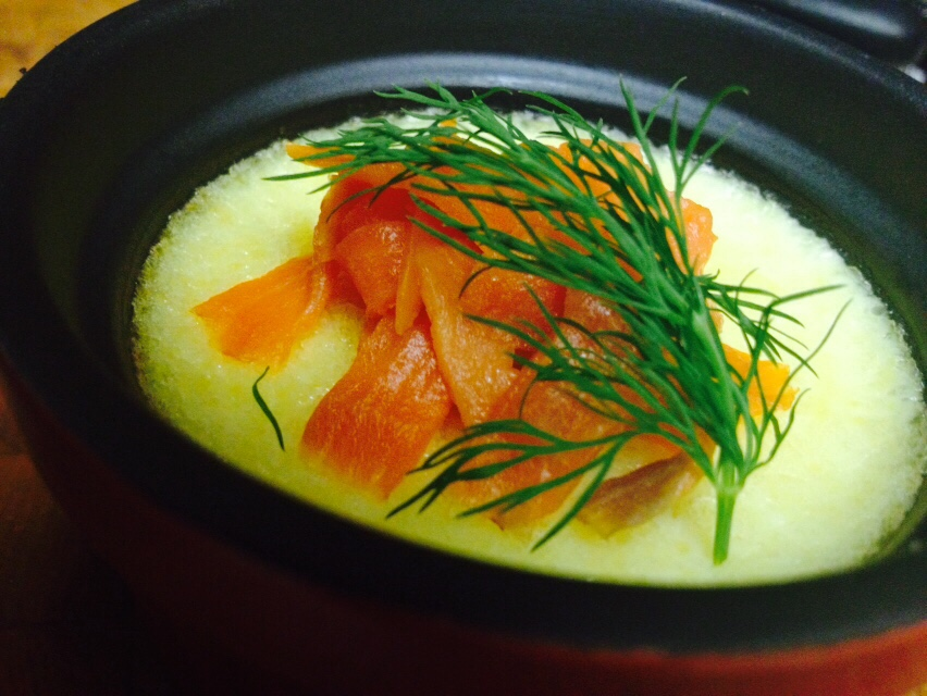 Parmesan Custard with Smoked Salmon & Dill