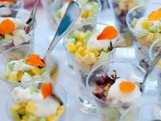 Raw Assorted Veggie Verrine with Creme Fraiche & Edible Flowers