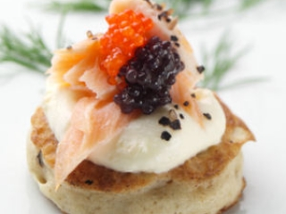 Smoked Salmon on Blini with two types of Caviar & Creme Fraiche