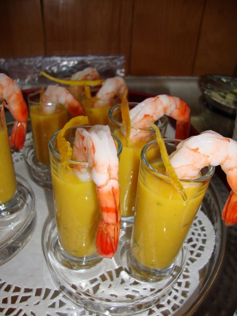 Chilled Lightly Curried Mango Soup with Prawn Garnish Shooters
