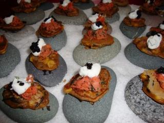 Corn & Wild Rice Fritter with Smoked Salmon Creme Fraiche & Caviar