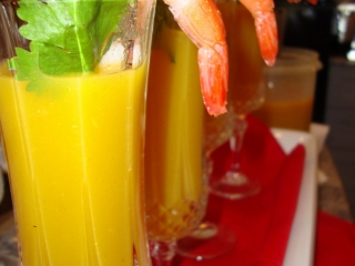 Chilled Lightly Curried Mango Soup with Prawn Garnish Champagne Flutes
