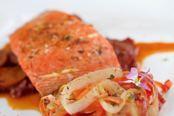 Moroccan Wild Sockeye Salmon on Moroccan Vegetable Tagine