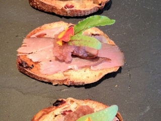 Roast Duck With Cool Radish Crostini