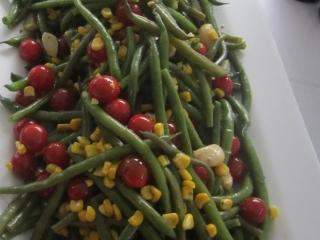 Tomato, Green Bean, Corn, Garlic Salad