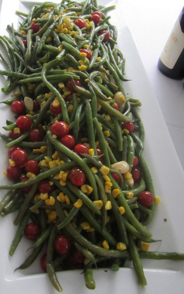 Tomato, Green Bean, Corn, Garlic Salad