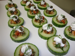 Salmon Tartare on Cucumber with Creme Fraiche, Dill & Caper