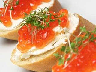 Salmon Caviar & Micro Greens on Cream Cheese Crostini
