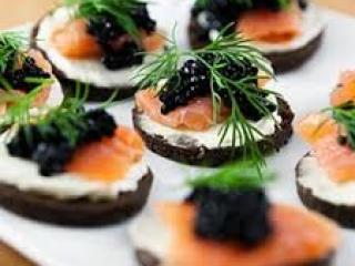 Caviar & Smoked Salmon & Dill on Cream Cheese and dark Rye
