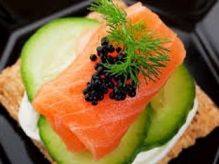 Smoked Salmon on Cucumber with Caviar & Dill