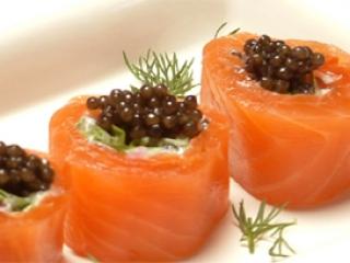 Smoke Salmon Rolls & Beluga Caviar