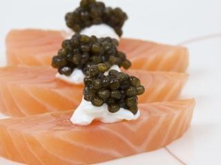 Salmon Sashimi with Beluga Caviar & Creme Fraiche
