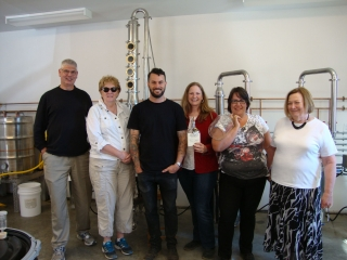 Tour guests with Chef Jason MacIssac at Sheringham Distillery